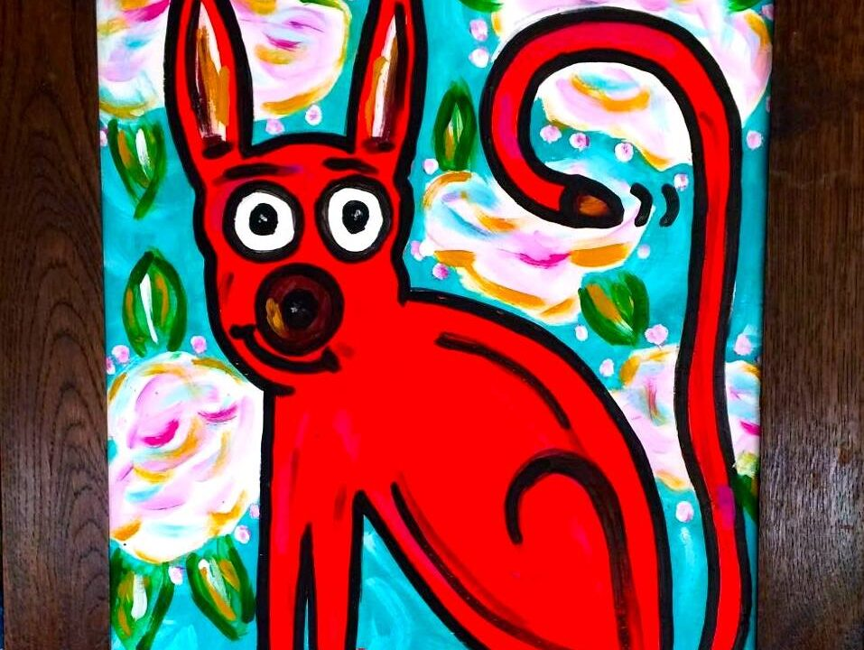 RED DAWG IN THE SKY WITH FLOWERS