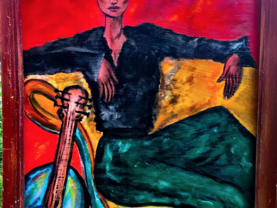 WOMAN in RED with GUITAR